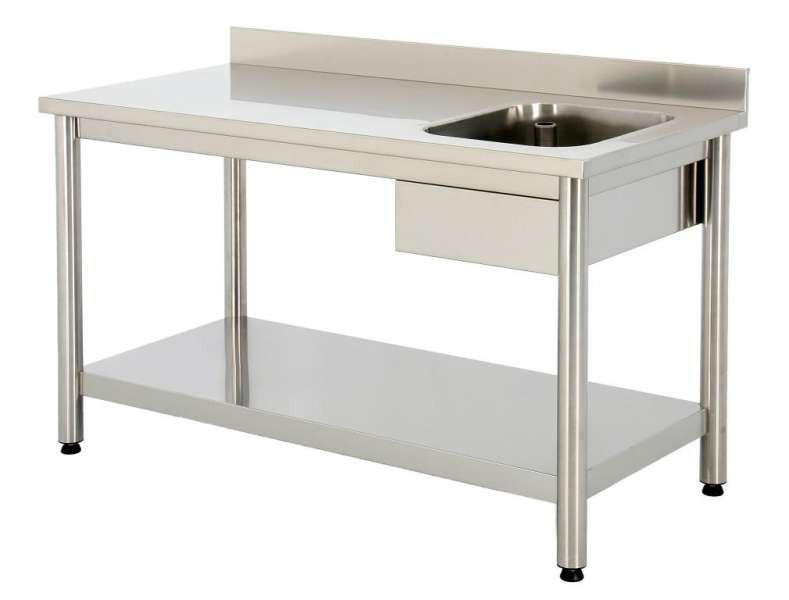 Inox table with and without shelf